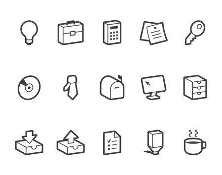 outlined: Outlined vector office icons. File format is EPS8.