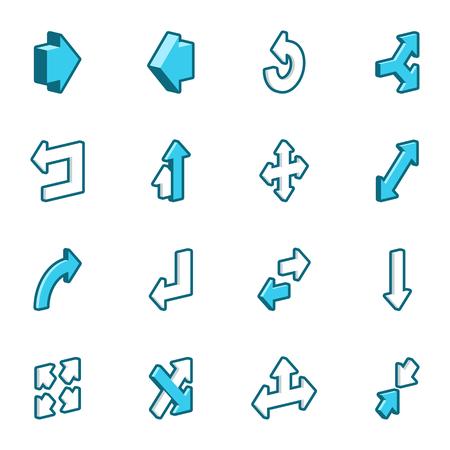 A set of sixteen blue vector arrows. Vector