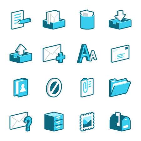 wastepaper basket: Blue mail and message vector icons.