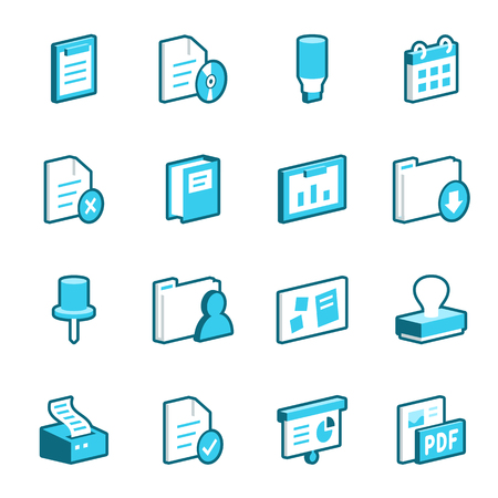 pinboard: Collection of blue office vector icons. Illustration