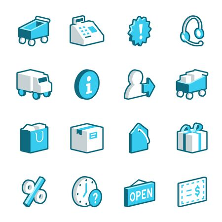 cash register: Blue shopping and ecommerce icons. Vector format.
