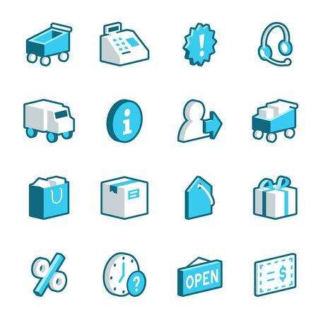 caja registradora: Comerciales y de comercio electr�nico iconos azules. Formato vectorial.