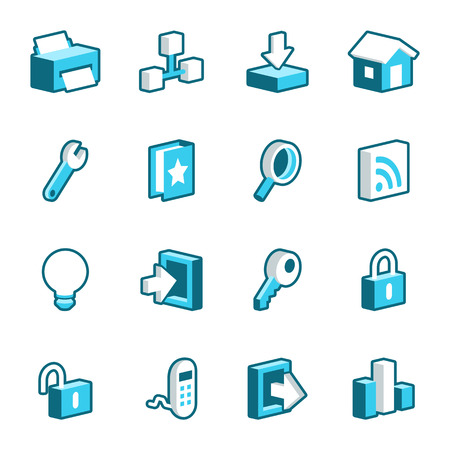 newsfeed: Blue internet and web vector icons. Illustration