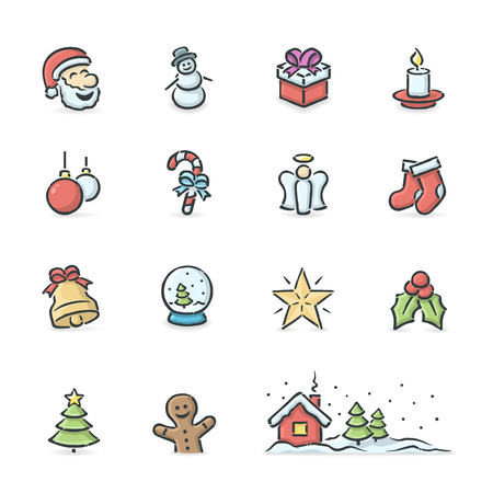 Hand drawn christmas icons. File format is EPS8. Vector