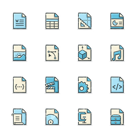wav: Hand drawn blue and beige file format icons. File format is EPS8. Illustration