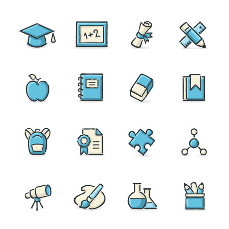 erlenmeyer: Hand drawn blue and beige education icons. File format is EPS8. Illustration