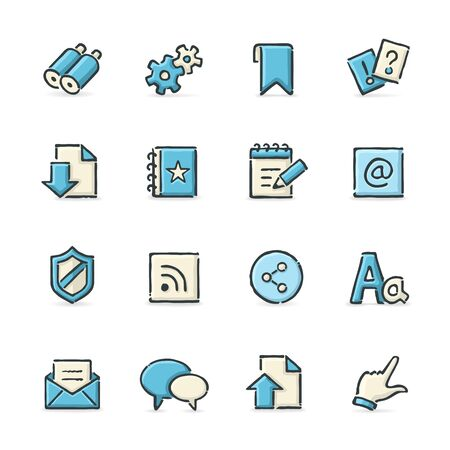 blog icon: Hand drawn blue and beige internet icons. File format is EPS8.