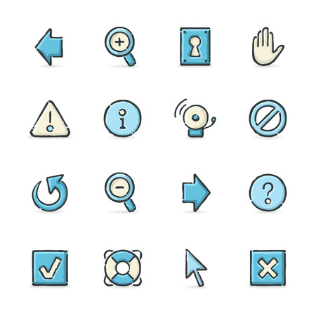 burglar alarm: Hand drawn blue and beige internet icons. File format is EPS8.