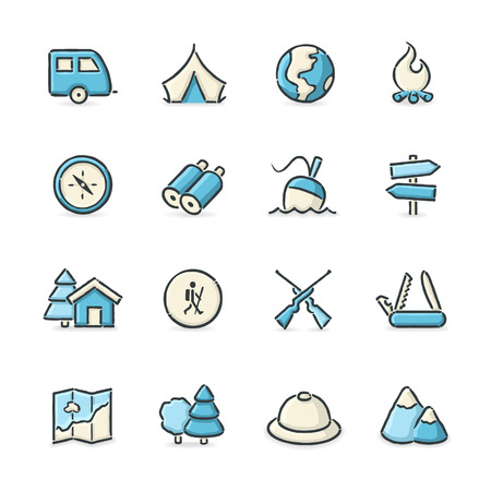 peak hat: Hand drawn blue and beige outdoor life icons. File format is EPS8.
