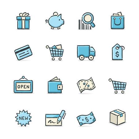 Dibujado a mano azul y beige iconos de compras. Formato de archivo es EPS8. Foto de archivo - 37003502