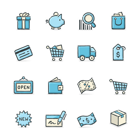 Hand drawn blue and beige shopping icons. File format is EPS8.