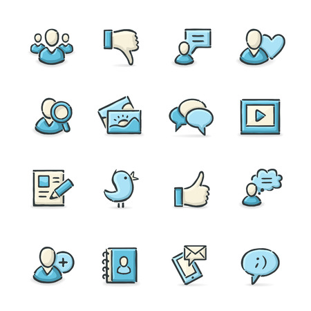 Hand drawn blue and beige social media icons. File format is EPS8. Vector