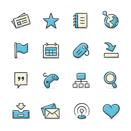 dog pen: Hand drawn blue and beige social network icons. File format is EPS8. Illustration