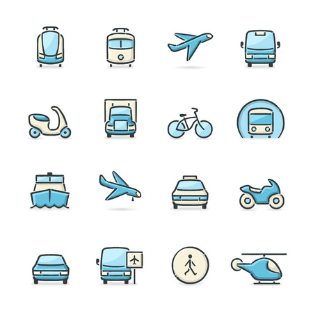 Hand drawn blue and beige transport icons. File format is EPS8. Vector