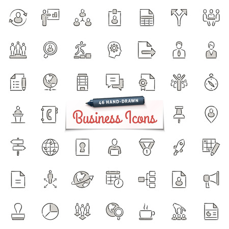 Large set of hand-drawn business icons. Only solid fills used. File format is EPS8.