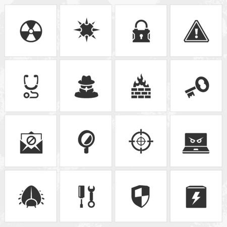 threat: Antivirus and security vector icons. File format is EPS8.