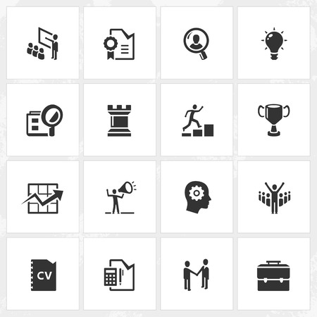 work experience: Career and business vector icons.