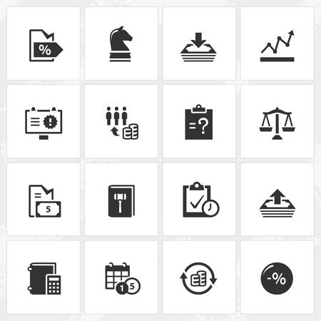 perdidas y ganancias: Iconos del asunto y de la empresa de vector.