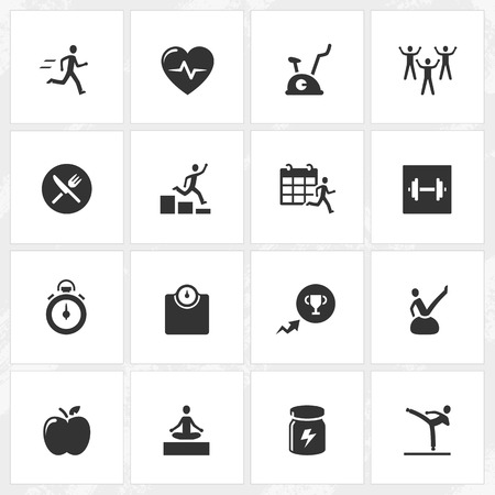 pilates ball: Fitness and health vector icons.  Illustration