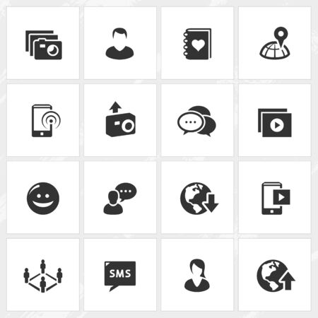 woman cellphone: Social media vector icons. File format is EPS8.