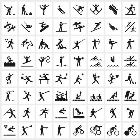 Grande conjunto de símbolos de esportes de vetor, incluindo todos os principais esportes de inverno e verão. O formato do arquivo é EPS8. Ilustración de vector