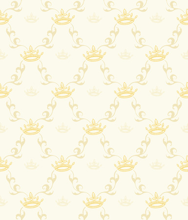 Seamless vector vintage wallpaper pattern with crowns and leaves. Ilustração