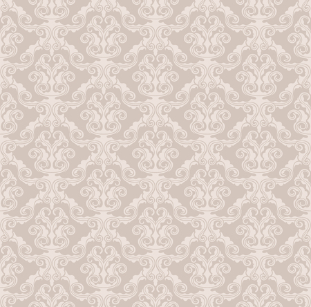 Beige seamless vector vintage wallpaper pattern. Only solid fills used.