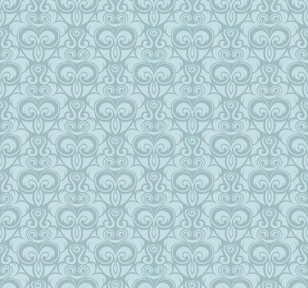 Light blue vector vintage seamless wallpaper pattern.