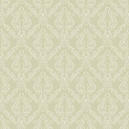 Seamless vintage vector wallpaper pattern in a soft green color. Ilustração