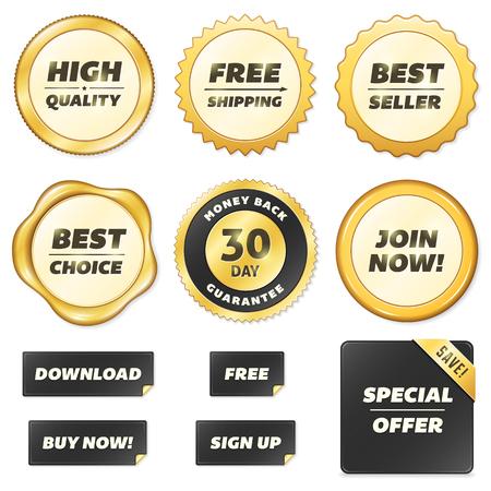 Collection of vector gold labels. File format is EPS10. Ilustração