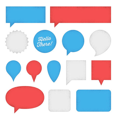 Red, white and blue speech bubbles and labels with rough edges.