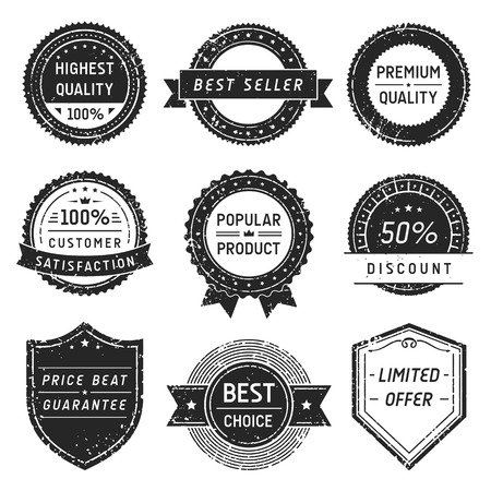 Collection of vector vintage labels with dirt and scratches.