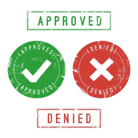 deny: Approved and denied stamps. Vector format. Only solid fills used.