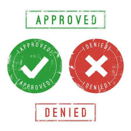 stamp: Aprobado y sellos negado. Formato vectorial. Solamente los rellenos s�lidos utilizados.
