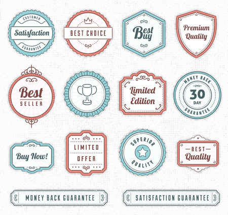 Set of blue and red vintage vector labels.