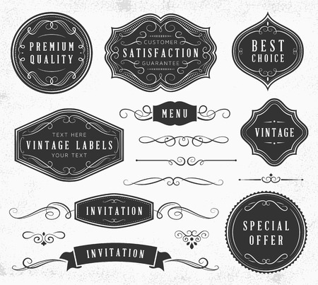Vintage ornaments and labels. Only solid fills used.