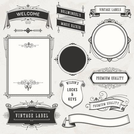 Coleção de etiquetas do vintage, ornamentos e fitas. Ilustração