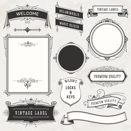 Collection of vintage labels, ornaments and ribbons. Illustration