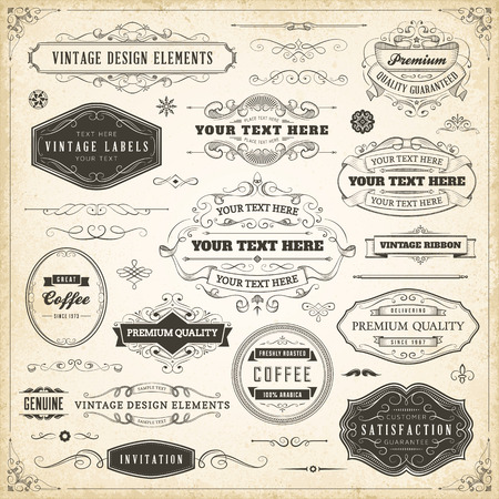 Large collection of hand drawn vintage design elements. Imagens - 37004635