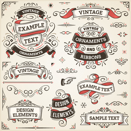 retro art: Large set of vintage vector ornaments and ribbons. The fonts are called Arvo, Bebas Neue, Bitter and Cubano.