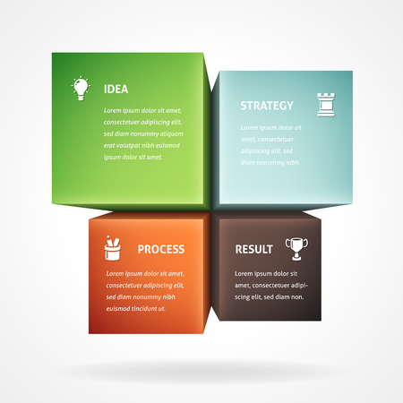 Infographic template with four boxes with copy space.
