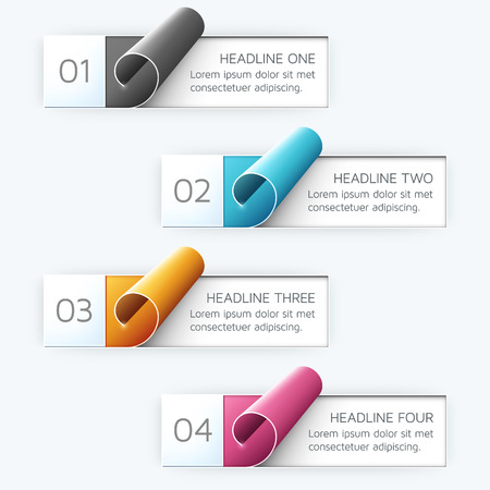 curled: Curled vector labels in four different colors.