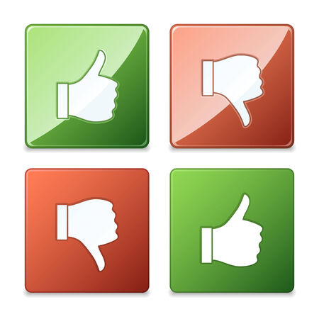 disapprove: Thumb up and thumb down vector buttons, matte and glossy.