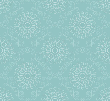 Seamless vector swirl wallpaper pattern. Soft turquoise color.