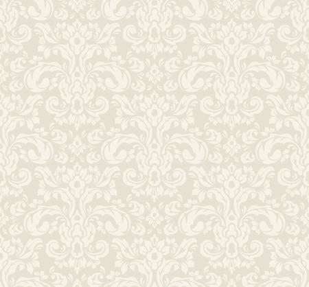 Beige seamless vintage floral wallpaper pattern. Vector format.  イラスト・ベクター素材
