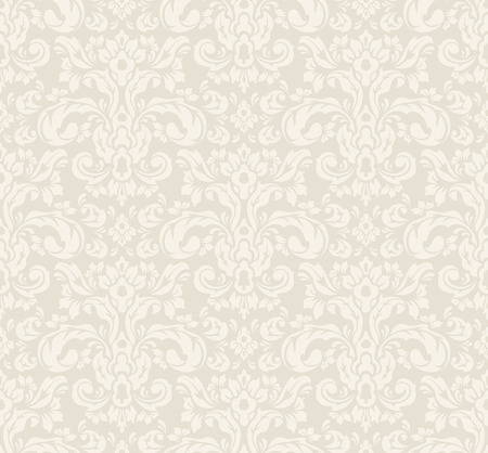 Beige seamless vintage floral wallpaper pattern. Vector format. Vettoriali