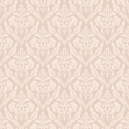 베이지 색 원활한 빈티지 벡터 벽지 패턴 나뭇잎과 꽃.