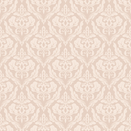 Beige seamless vintage vector wallpaper pattern with leaves and flowers. Illustration