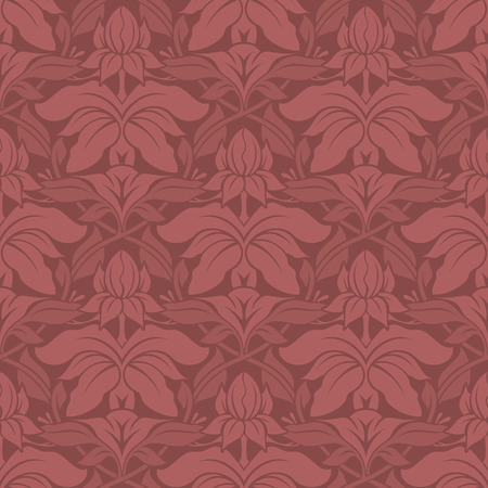 Seamless vector wallpaper pattern with leaves and flowers. Soft red color.
