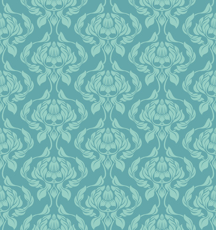 Seamless vector wallpaper pattern with flowers and leaves.